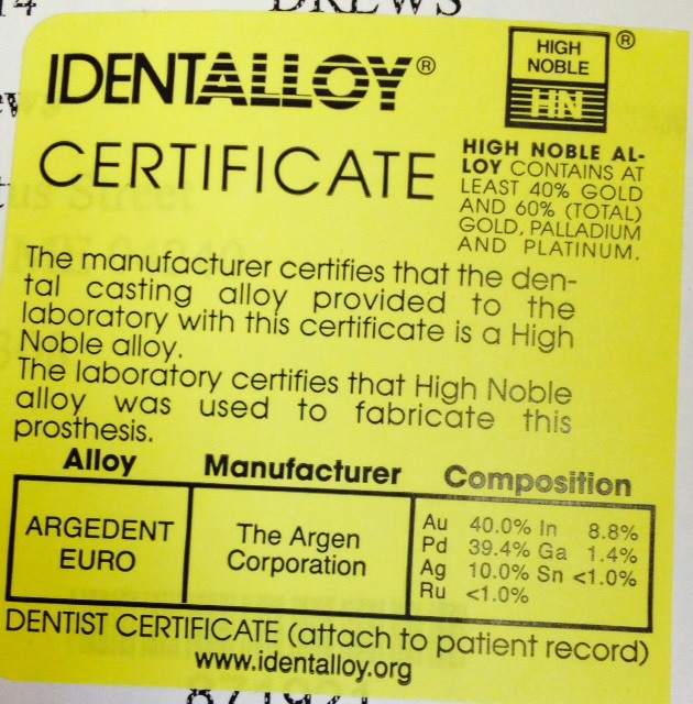 identalloy certificate sticker example
