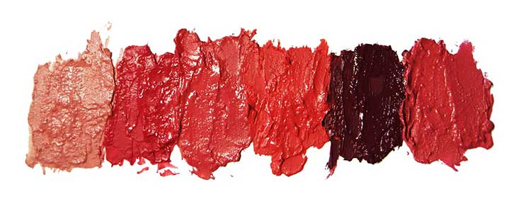 lipstick swatches of color