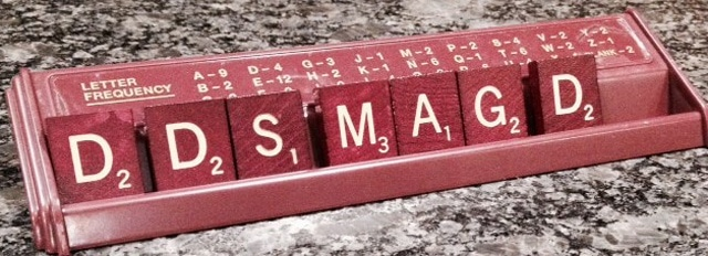 dds magd spelled out with scrabble letters
